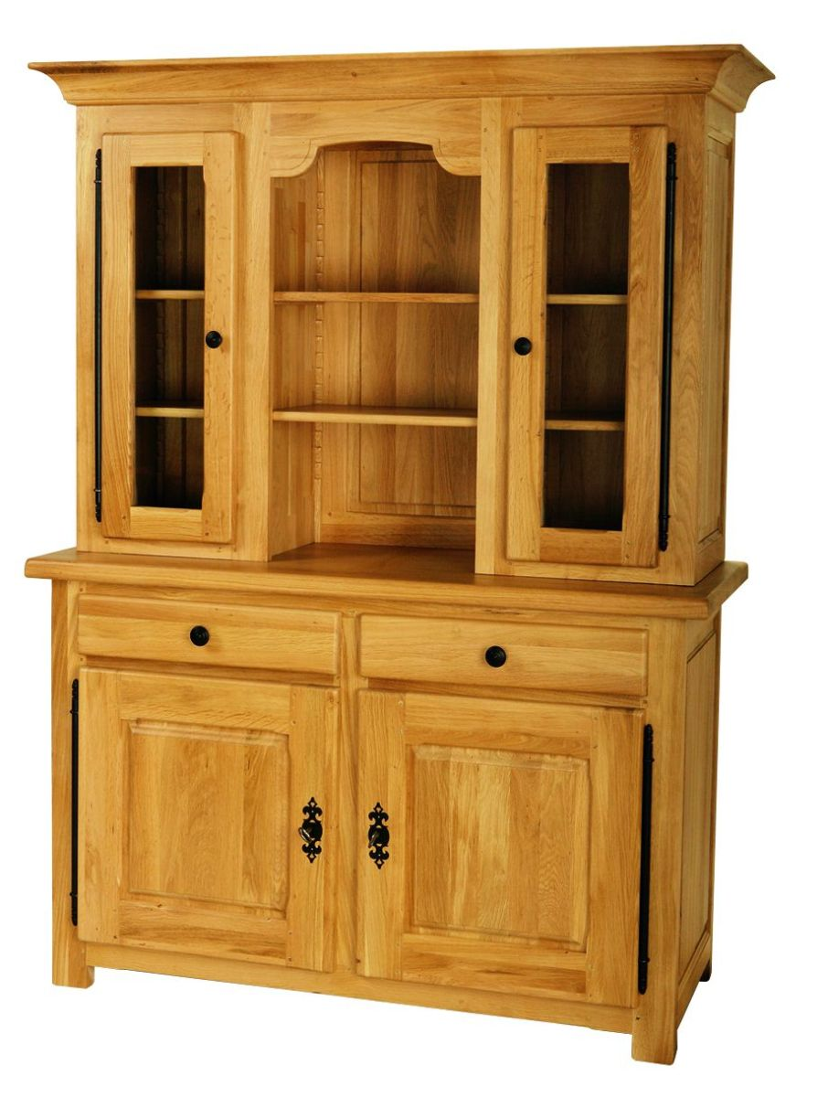 Solid Oak Cabinet Top, 2 Doors and 1 Open Area