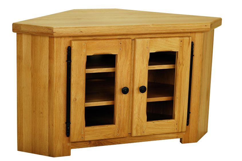 Solid Oak Corner TV Unit, 2 Doors