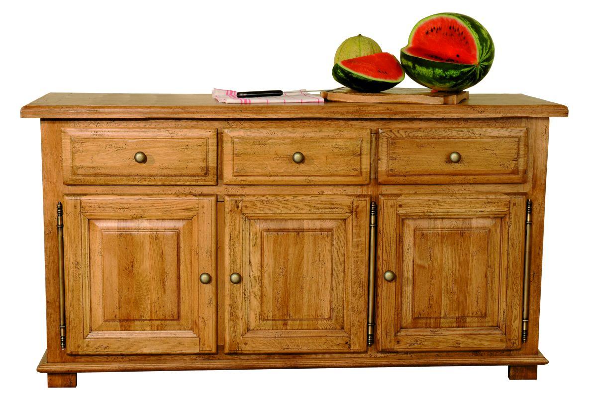 Solid Oak Sideboard, 3 Doors and 3 Drawers