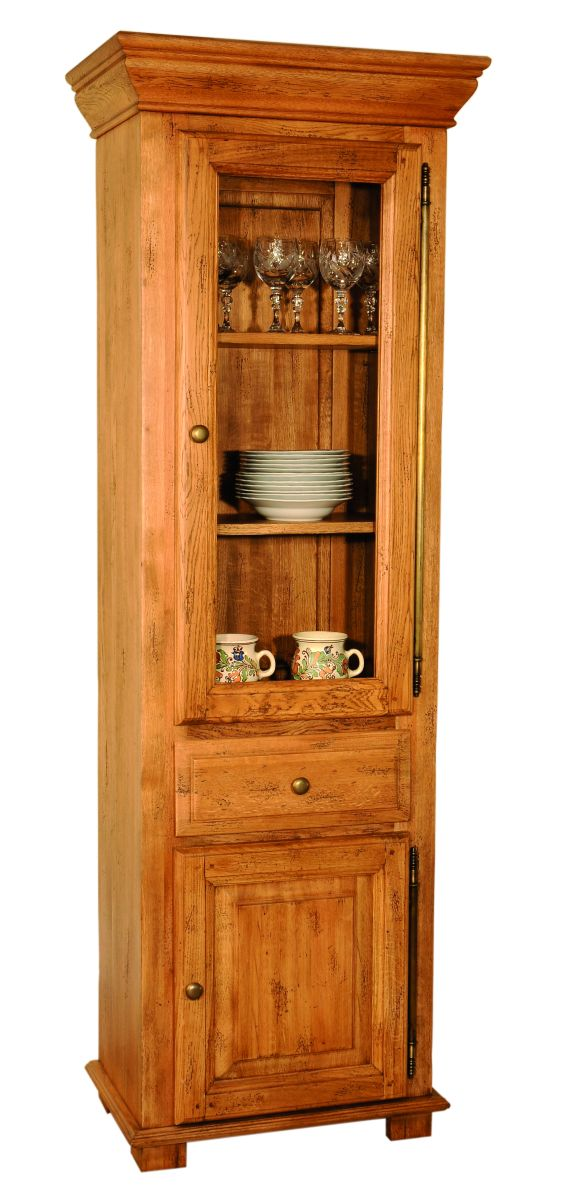 Solid Oak Display Cabinet, 2 Doors and 1 Drawer