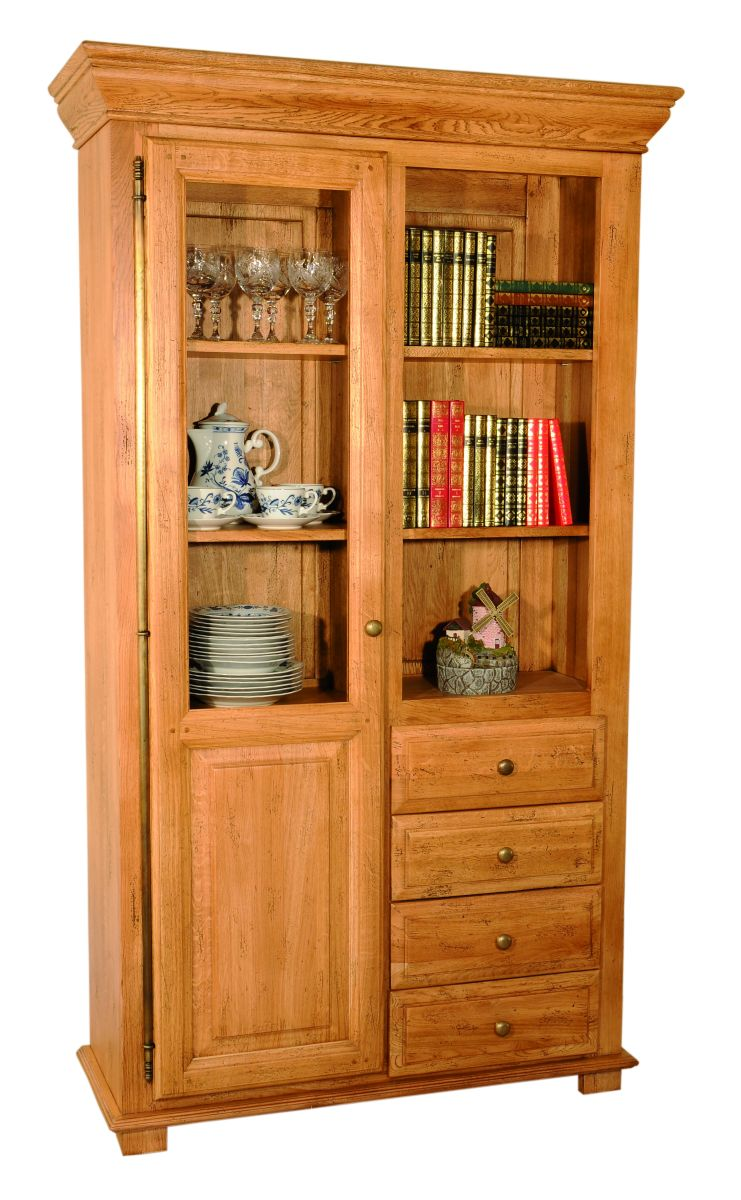 Solid Oak Bookcase, 1 Door and 4 Drawers