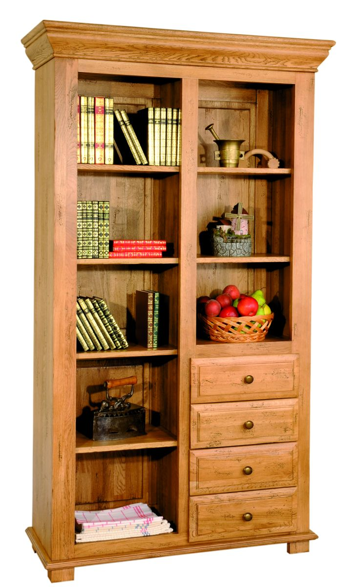Solid Oak Bookcase, 4 Drawers