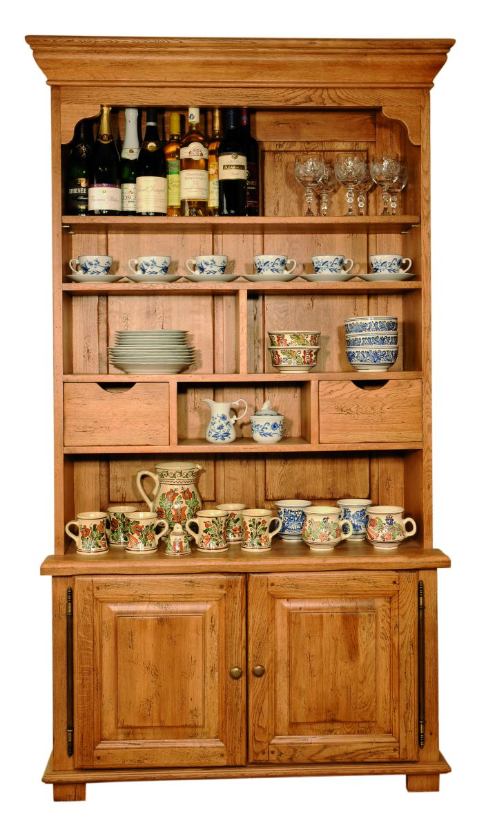 Solid Oak Display Cabinet, 2 Doors and 2 Drawers