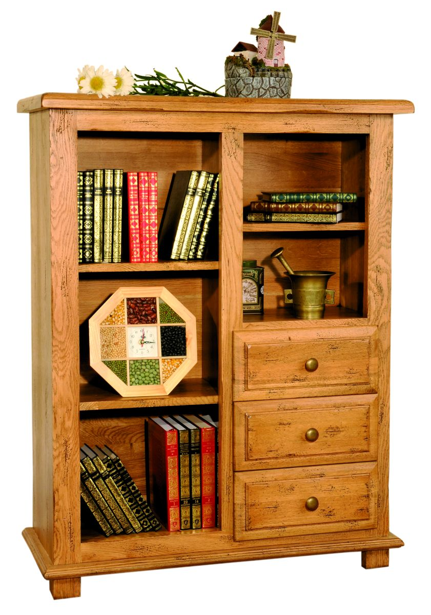 Solid Oak Bookcase, 3 Drawers