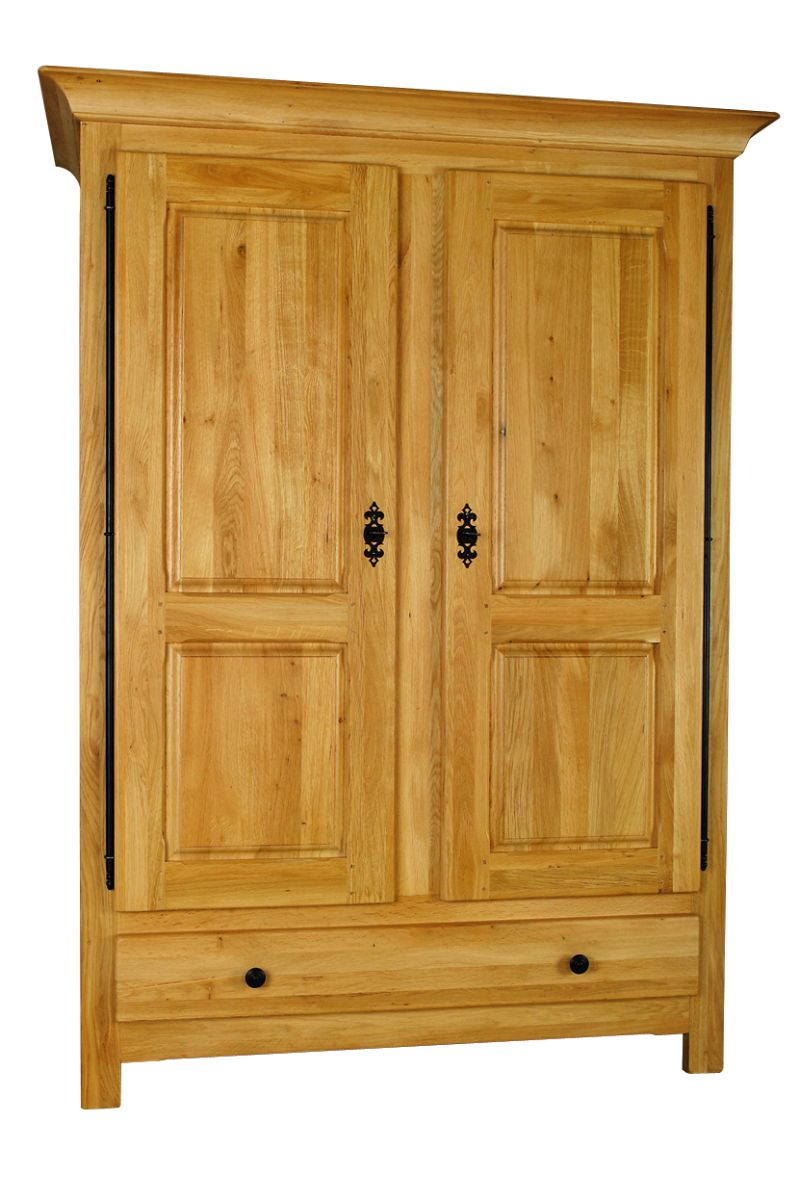 Solid Oak Wardrobe, 2 Doors and 1 Drawer