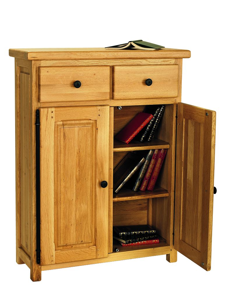 Solid Oak Storage Unit, 2 Doors and 2 Drawers