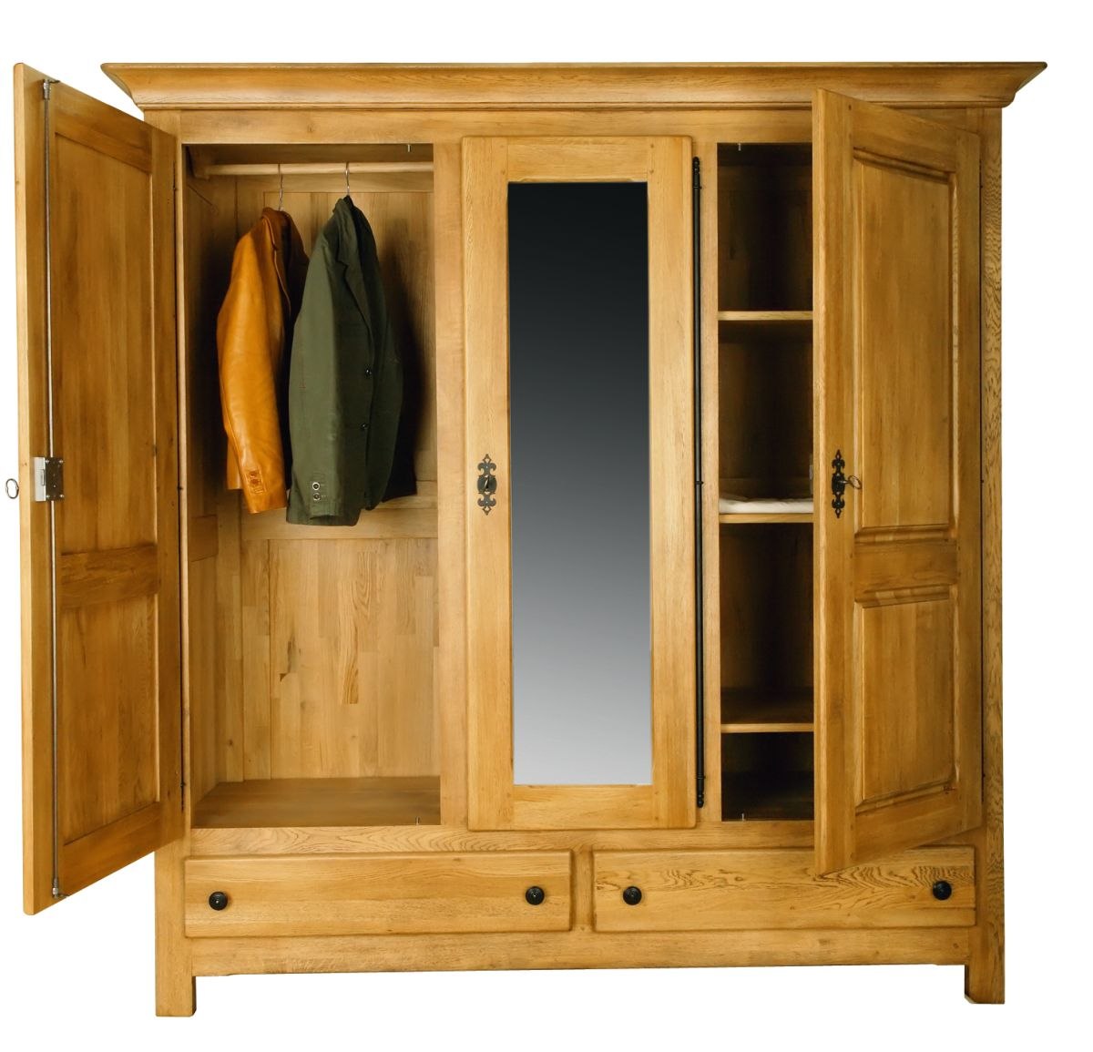 Solid Oak Wardrobe, 3 Doors and 2 Drawers