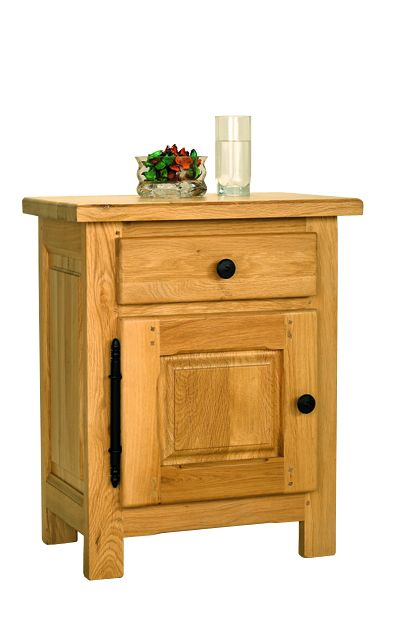 Solid Oak Bedside Cabinet, 1 Door and 1 Drawer
