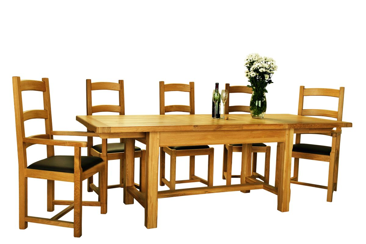 Solid Oak Slat End Extendable Table