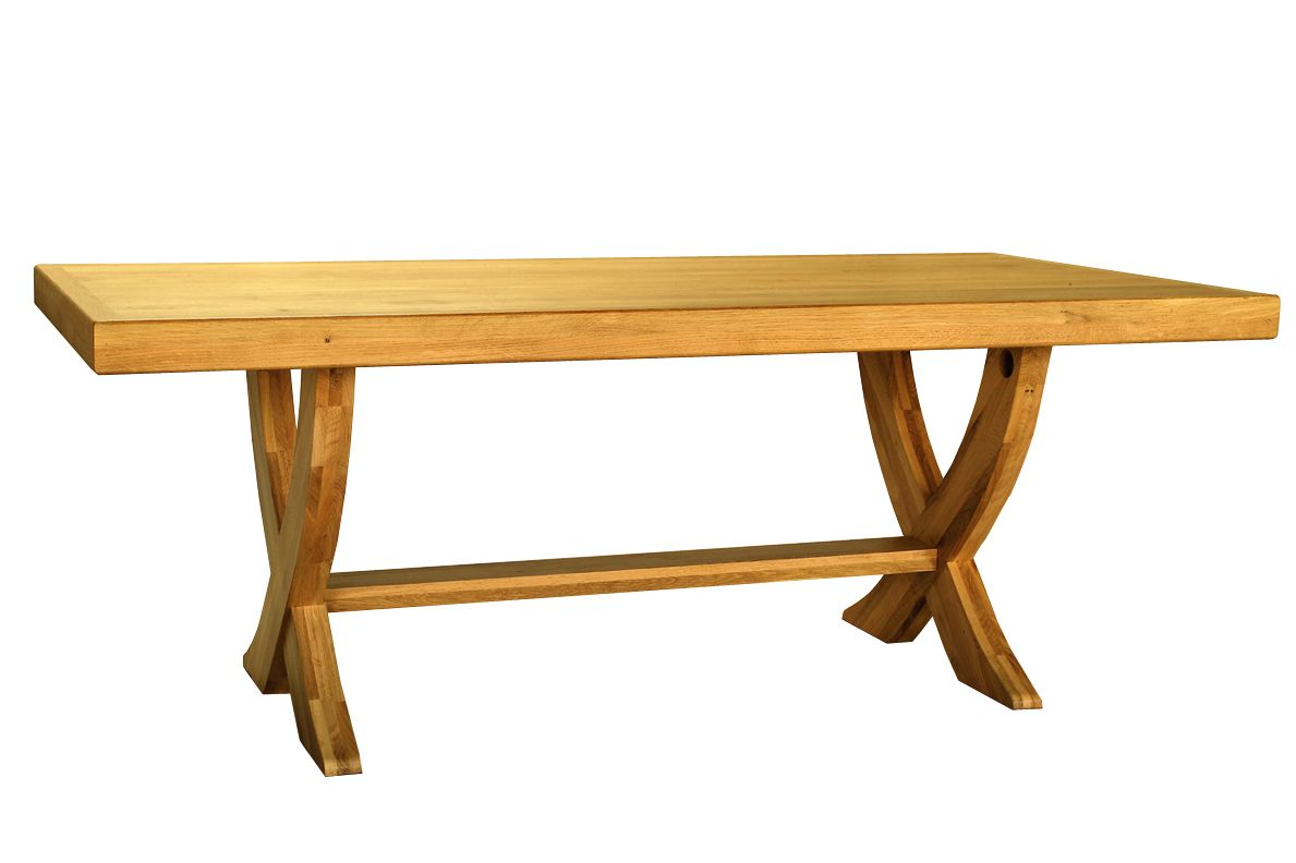 Solid Oak Monaster Table – X Legs