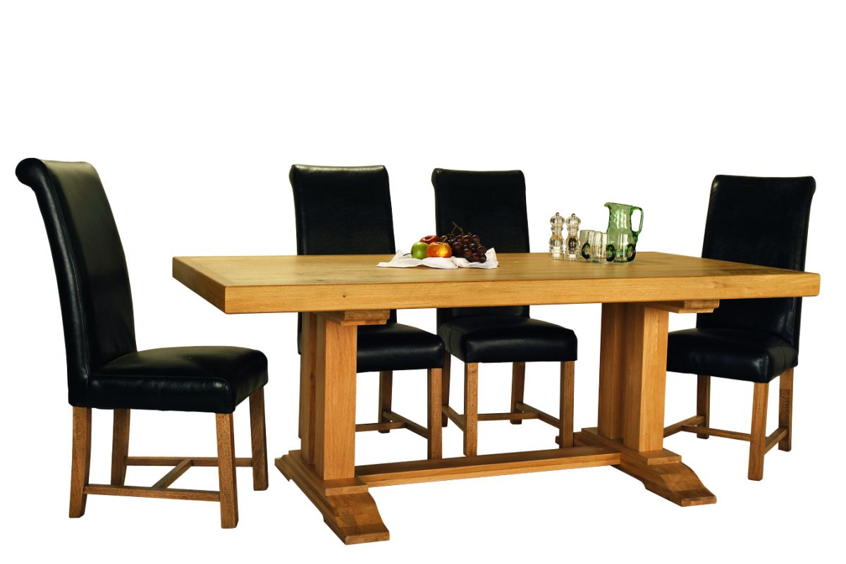 Solid Oak Monaster Table – Double Legs