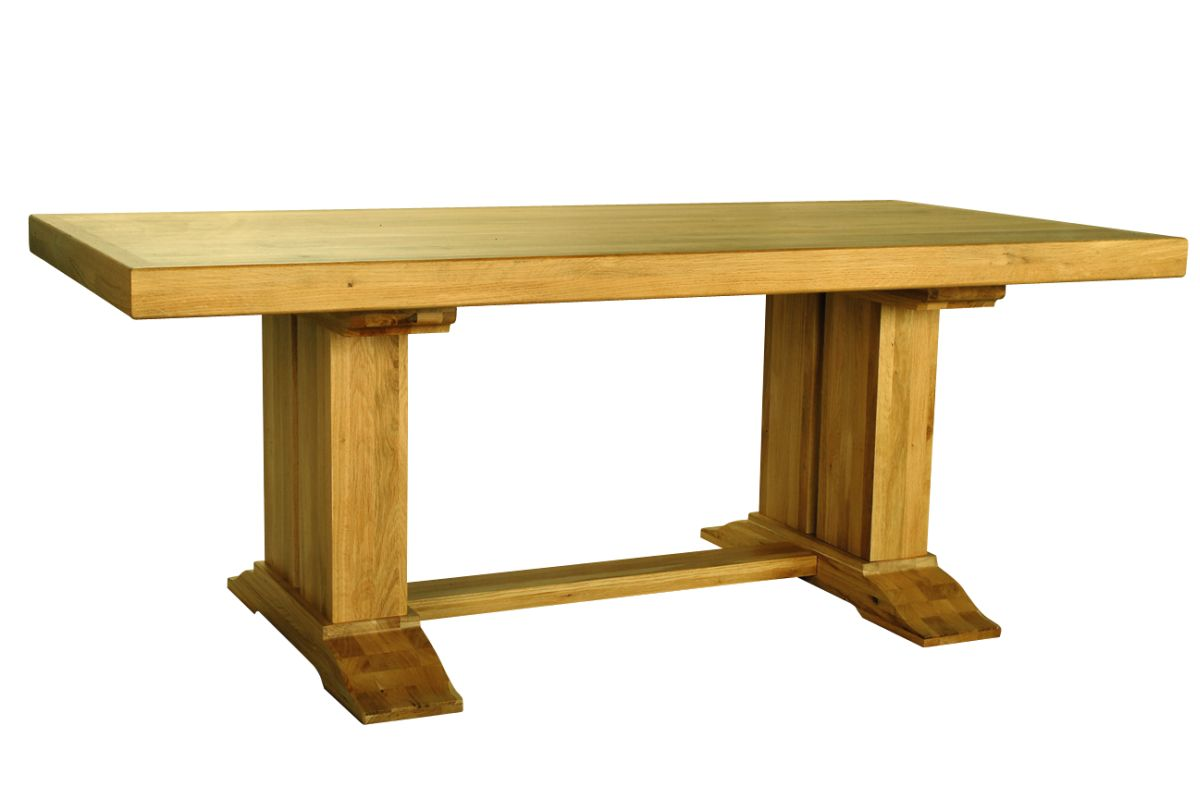 Solid Oak Rustic Table – Double Legs