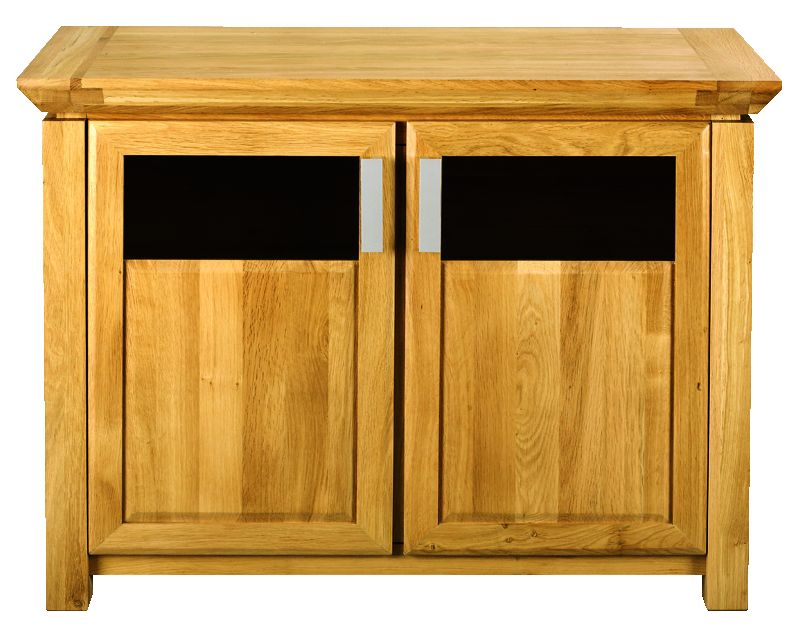 Solid Oak Sideboard, 2 Doors, Part Glazed