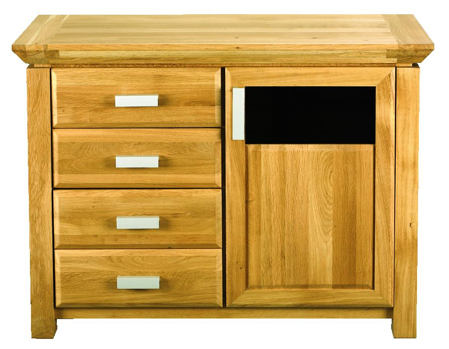 Solid Oak Sideboard, 1 Door and 3 Drawers, Part Glazed