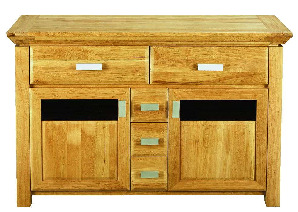Solid Oak Sideboard, 2 Door and 5 Drawers, Part Glazed
