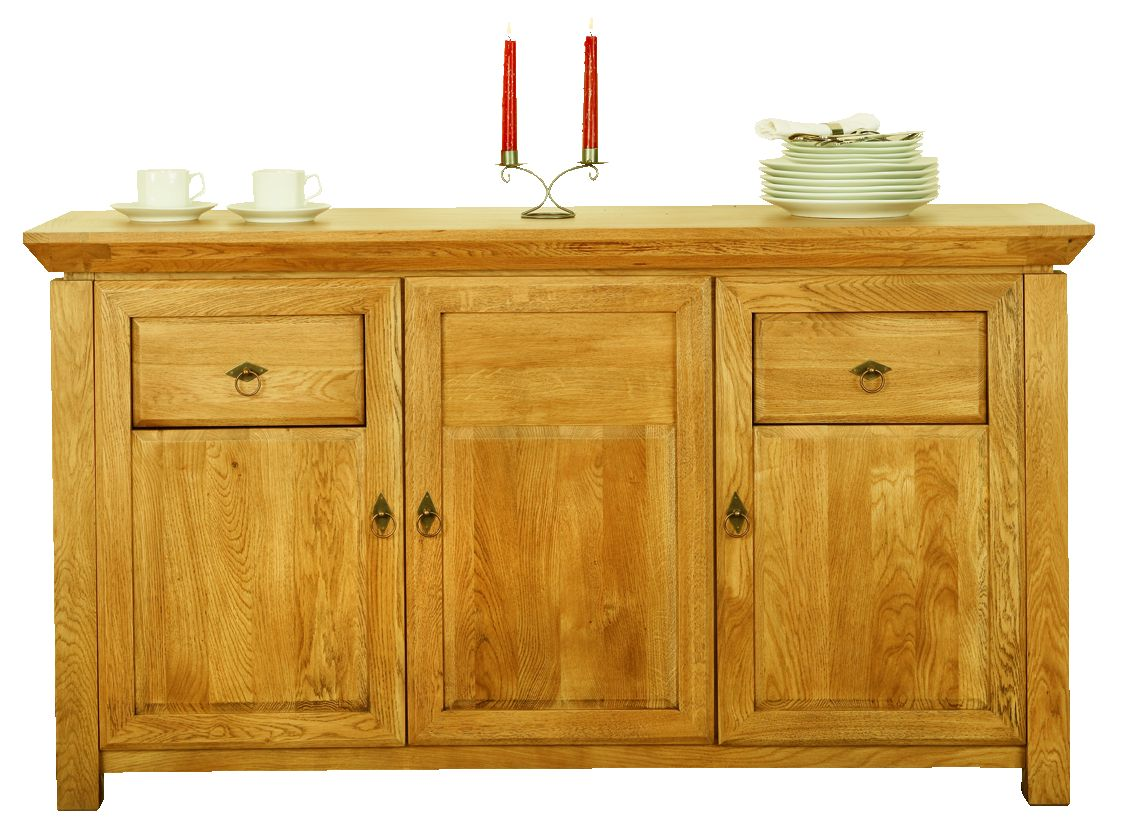Solid Oak Sideboard, 3 Doors and 2 Drawers