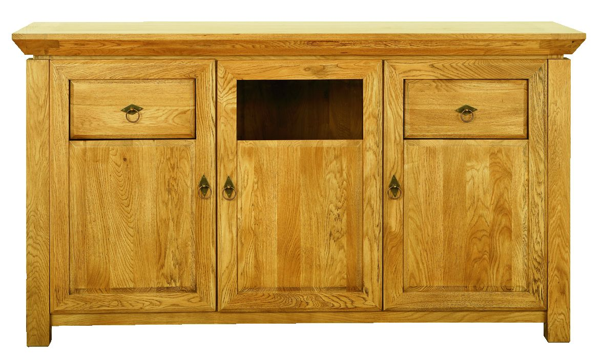 Solid Oak Sideboard, 3 Doors and 2 Drawers, Part Glazed