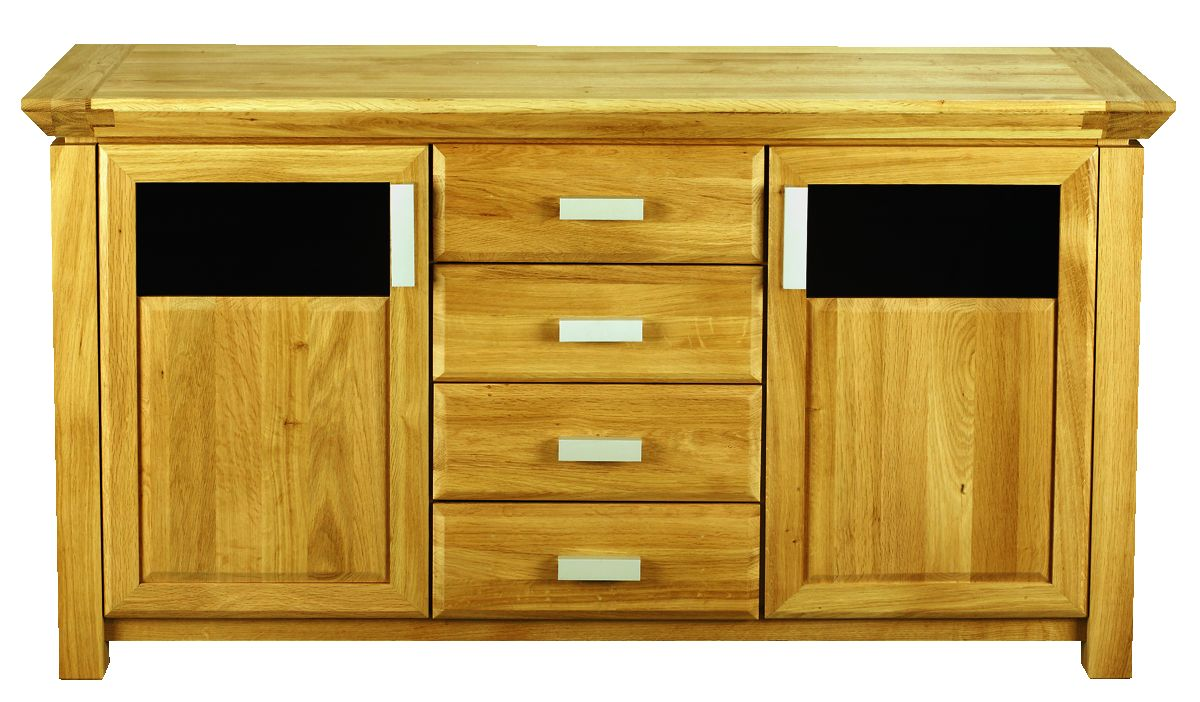 Solid Oak Sideboard, 2 Doors and 3 Drawers, Part Glazed