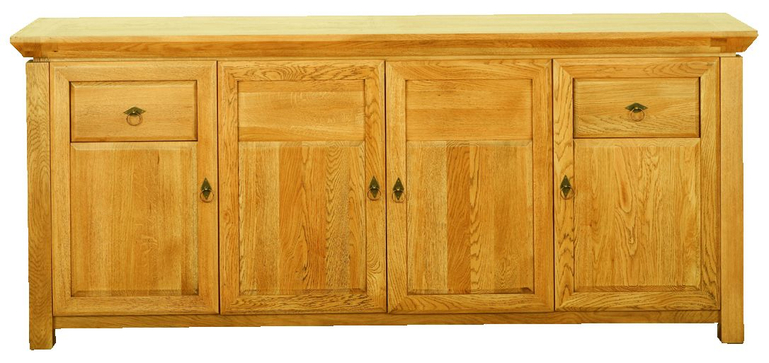 Solid Oak Sideboard, 4 Doors and 2 Drawers