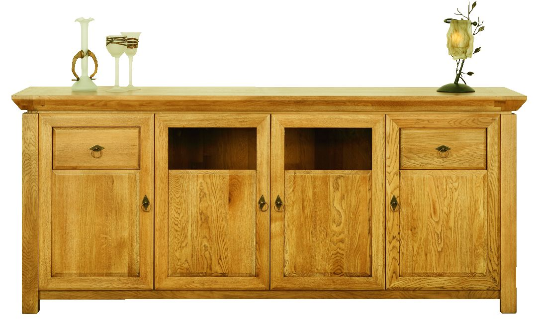 Solid Oak Sideboard, 4 Doors and 2 Drawers, Part Glazed