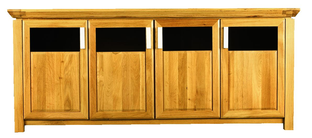 Solid Oak Sideboard, 4 Doors, Part Glazed