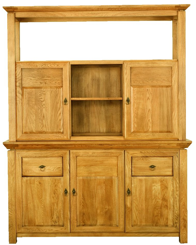 Solid Oak Cabinet Top, 2 Wooden Doors and 1 Open Area