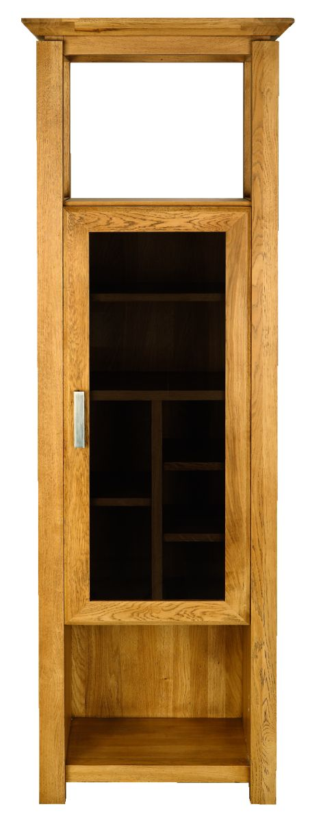 Solid Oak Display Cabinet, 1 Door and 1 Open Area