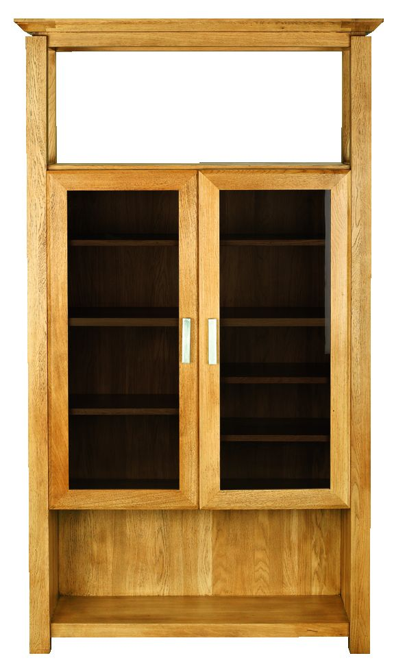 Solid Oak Display Cabinet, 2 Doors and 1 Open Area