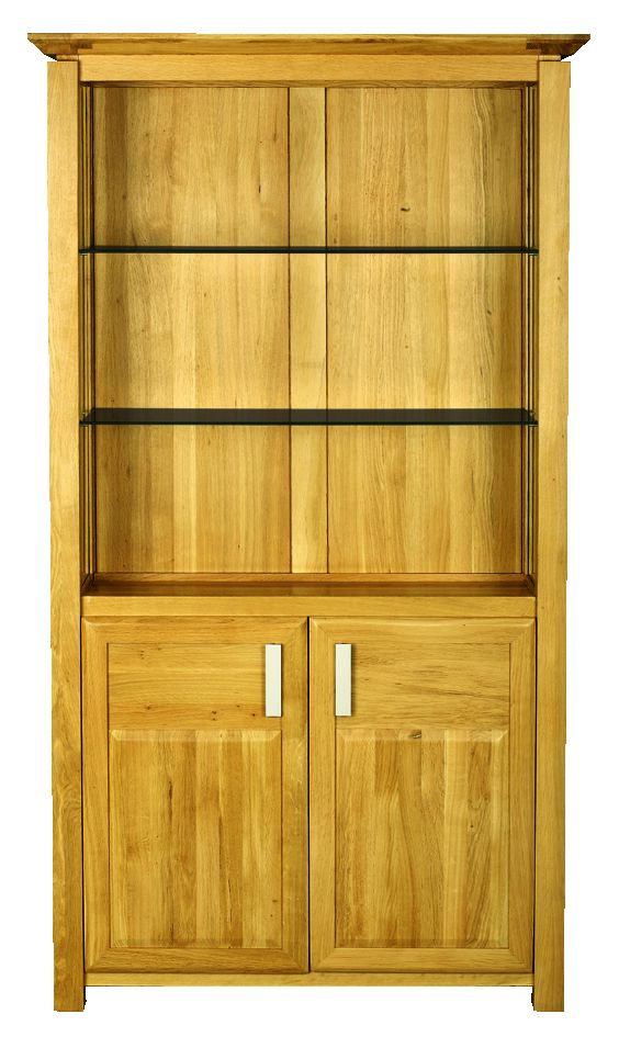 Solid Oak Bookcase, 2 Doors, Glazed Sides