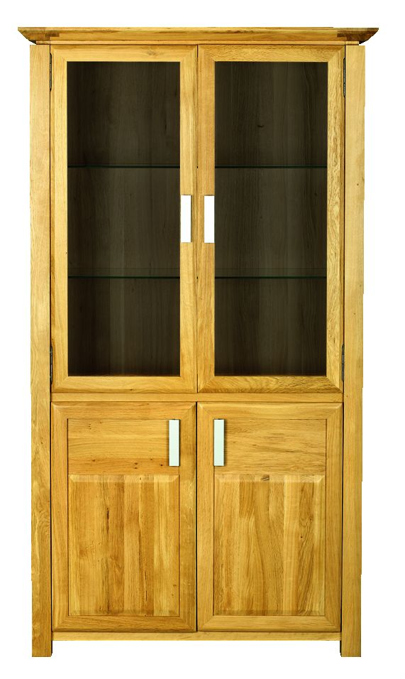 Solid Oak Display Cabinet, 4 Doors, Glazed Sides
