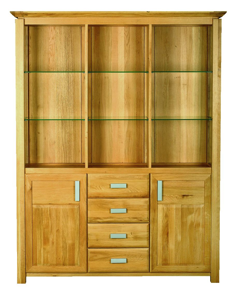 Solid Oak Bookcase, 2 Doors and 4 Drawers, Glazed Sides