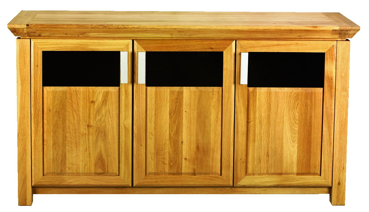 Solid Oak Sideboard, 3 Doors, Part Glazed