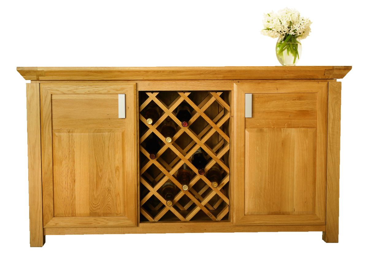 Solid Oak Wine Cabinet, 2 Doors and 1 Wine Rack
