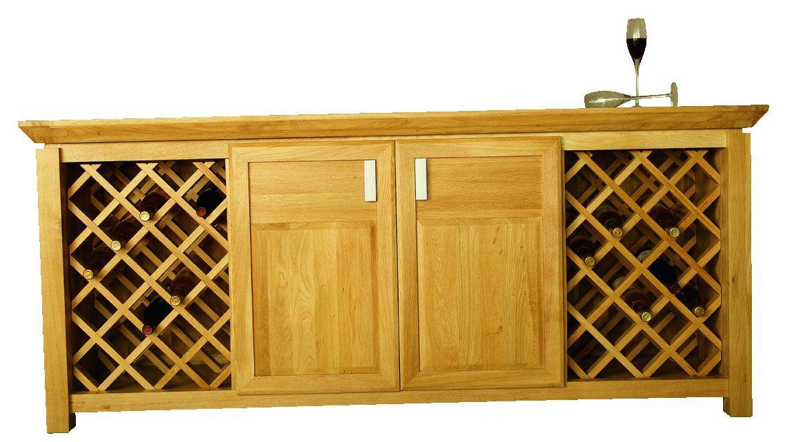Solid Oak Wine Cabinet, 2 Doors and 2 Wine Racks