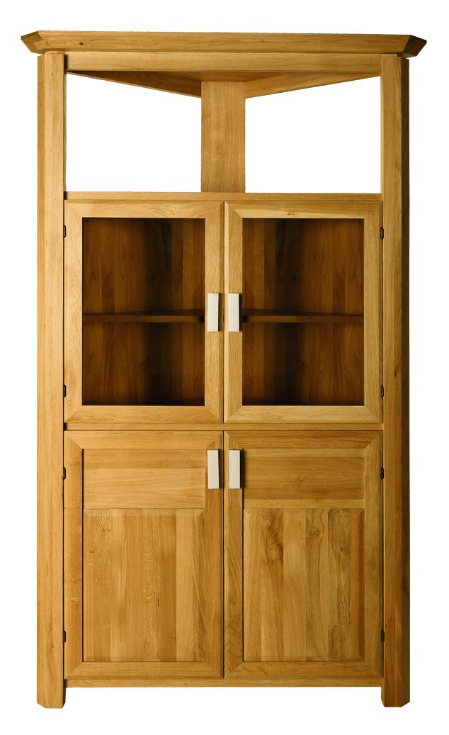 Solid Oak Corner Display Cabinet, 4 Doors