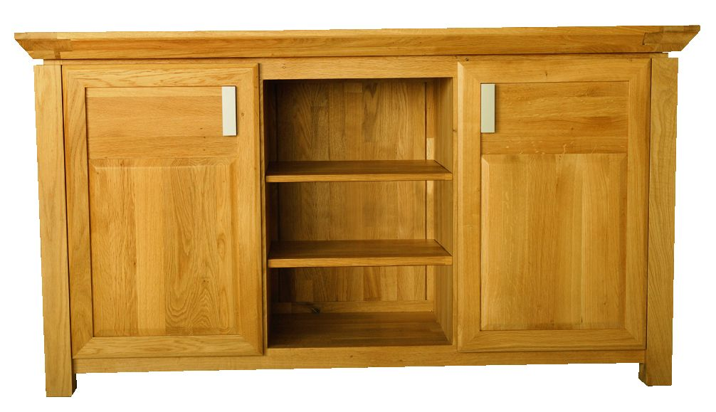 Solid Oak Sideboard, 2 Doors and 1 Open Area
