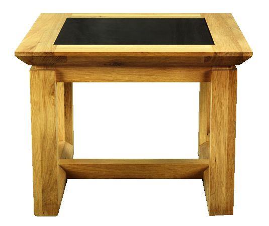Solid Oak Lamp Table, Glazed Top