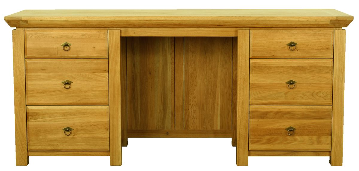 Solid Oak Desk, 6 Drawers