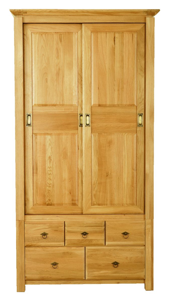 Solid Oak Wardrobe, 2 Sliding Doors and 5 Drawers