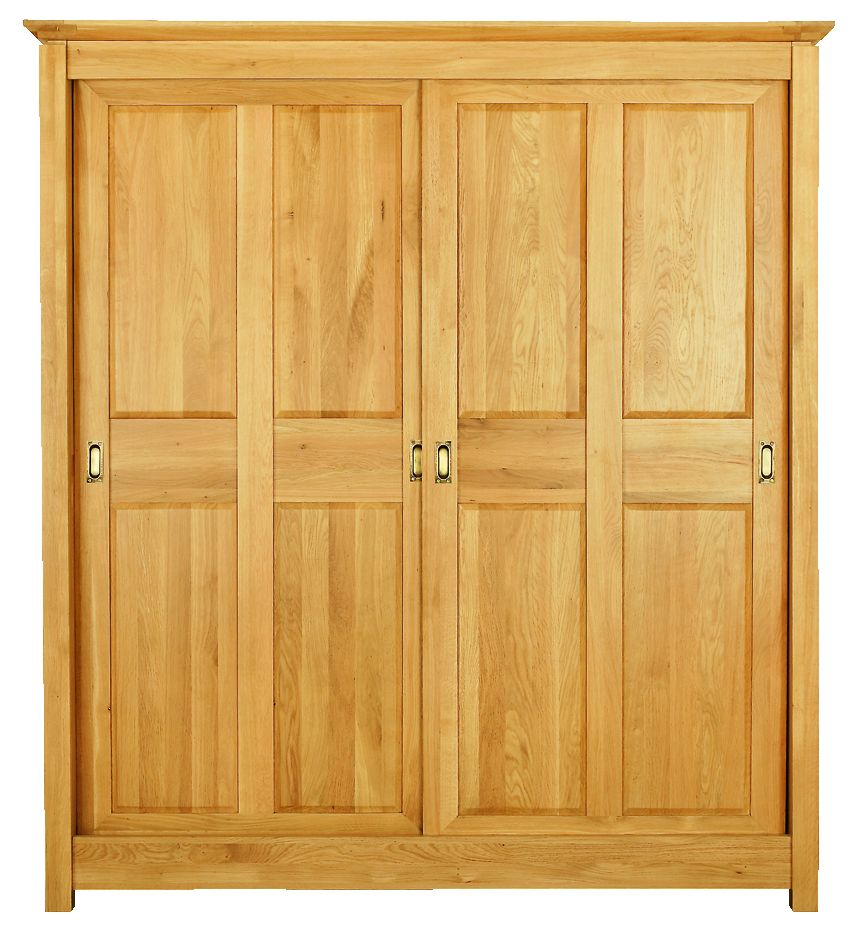 Solid Oak Wardrobe, 2 Sliding Doors and 3 Internal Drawers