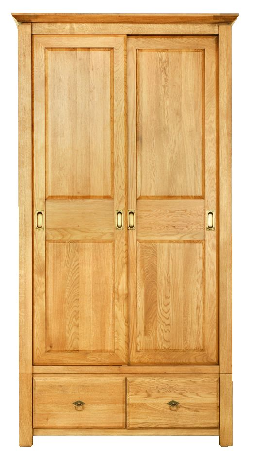 Solid Oak Wardrobe, 2 Sliding Doors and 2 Drawers