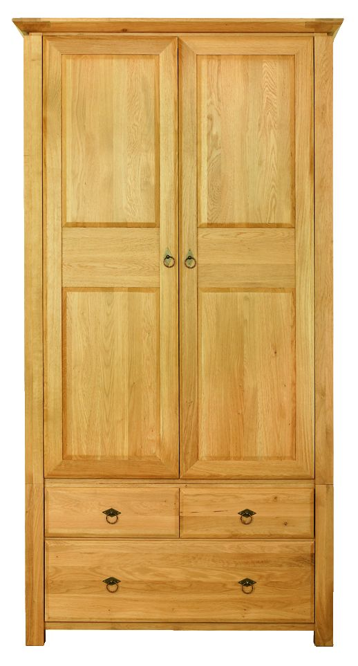 Solid Oak Wardrobe, 2 Doors and 3 Drawers