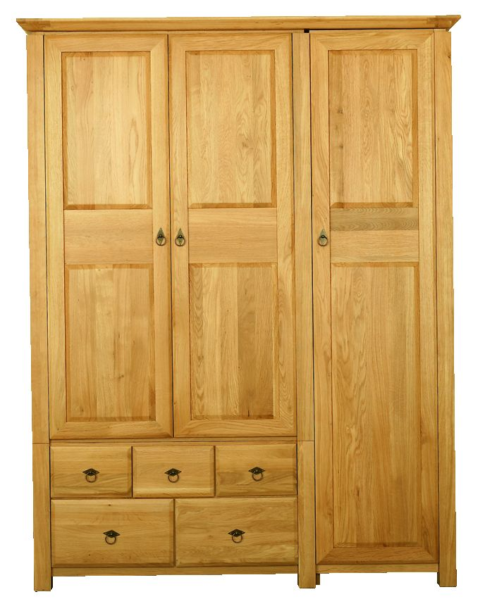 Solid Oak Wardrobe, 3 Doors and 5 Drawers