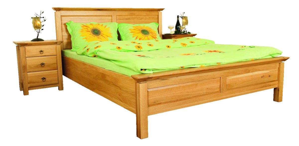 Solid Oak Bed, Low Footboard