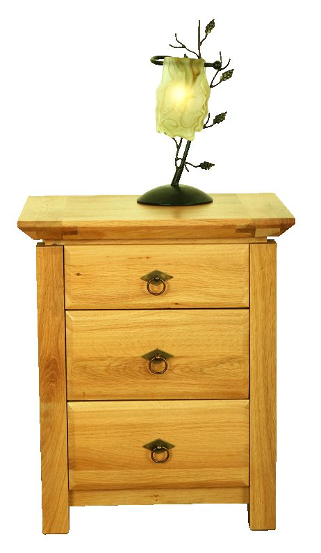 Solid Oak Bedside Cabinet, 3 Drawers
