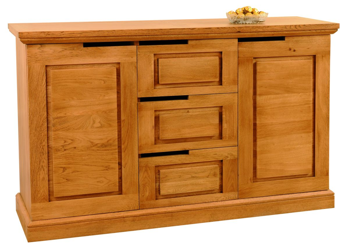 Solid Oak Sideboard, 2 Doors and 3 Drawers