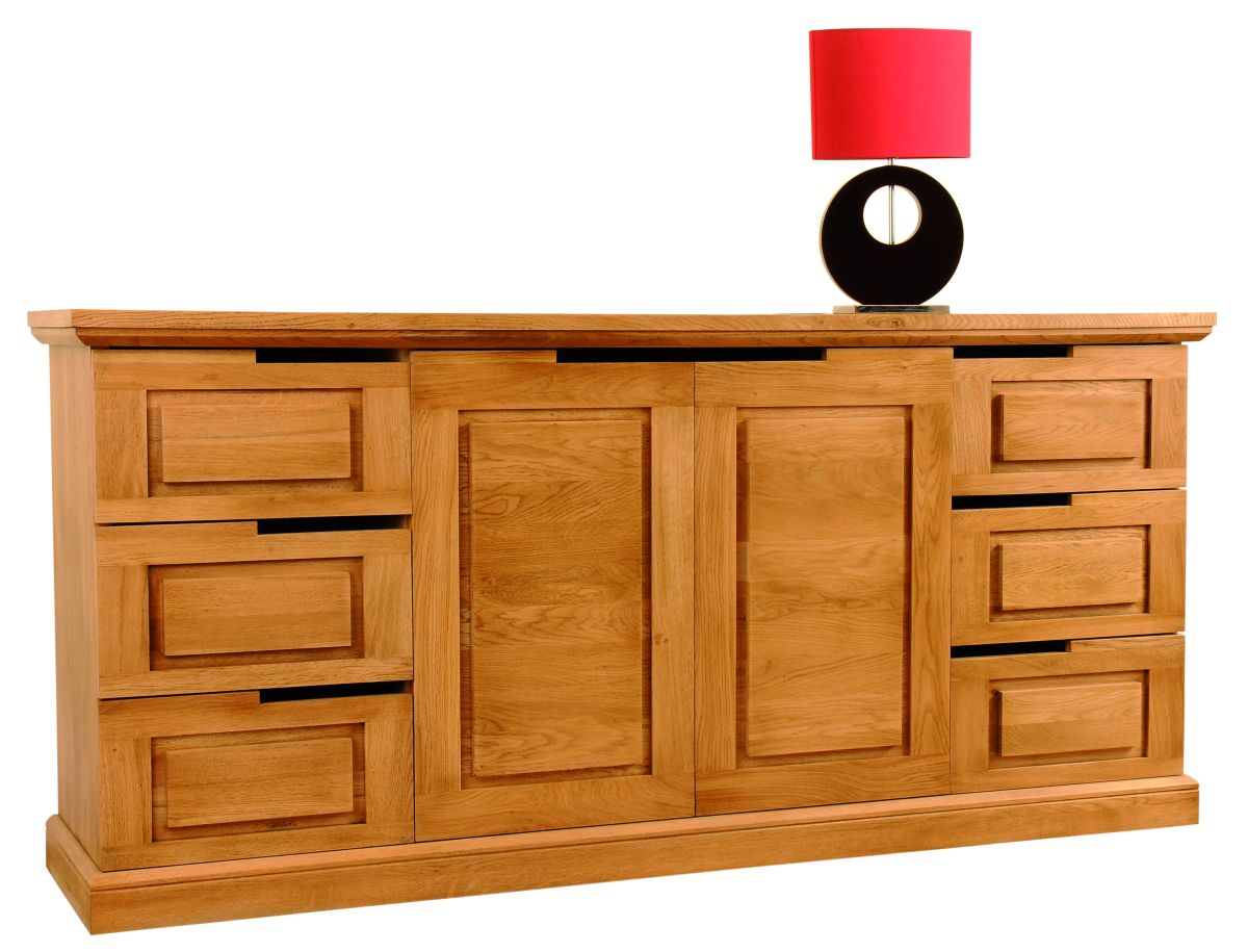 Solid Oak Sideboard, 2 Doors and 6 Drawers