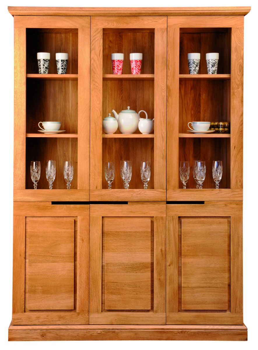 Solid Oak Display Cabinet, 6 Doors