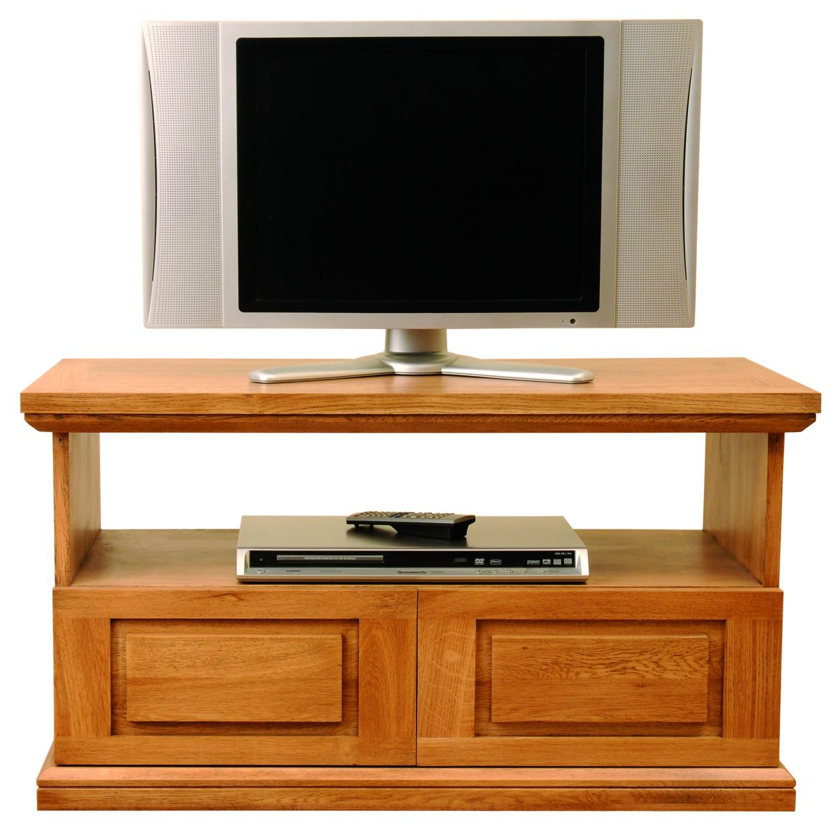 Solid Oak Entertainment Unit, 2 Drawers and 1 Open Area