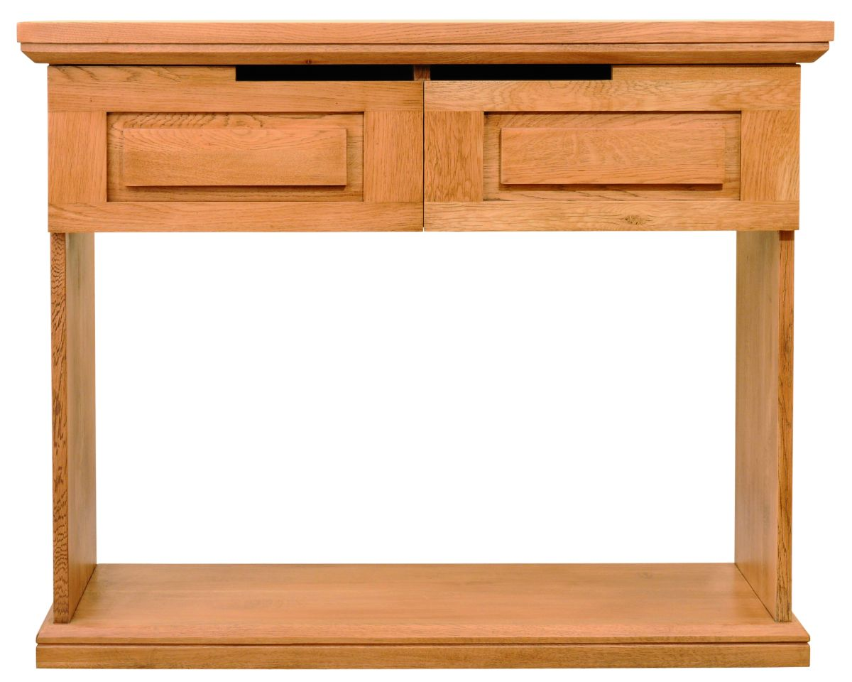 Solid Oak Hall Table, 2 Drawers